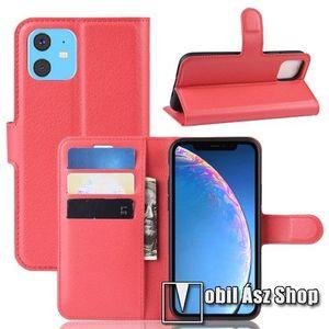 WALLET notesz tok / flip tok - PIROS - asztali tartó funkciós, oldalra nyíló, rejtett mágneses záródás, bankkártyatartó zseb, szilikon belső - APPLE iPhone 11 kép