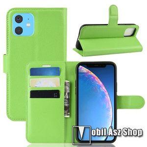 WALLET notesz tok / flip tok - ZÖLD - asztali tartó funkciós, oldalra nyíló, rejtett mágneses záródás, bankkártyatartó zseb, szilikon belső - APPLE iPhone 11 kép