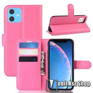 WALLET notesz tok / flip tok - MAGENTA - asztali tartó funkciós, oldalra nyíló, rejtett mágneses záródás, bankkártyatartó zseb, szilikon belső - APPLE iPhone 11 kép