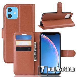 WALLET notesz tok / flip tok - BARNA - asztali tartó funkciós, oldalra nyíló, rejtett mágneses záródás, bankkártyatartó zseb, szilikon belső - APPLE iPhone 11 kép