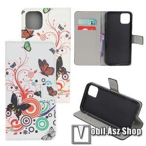 Notesz / mappa tok - PILLANGÓ / VIRÁG MINTÁS - oldalra nyíló, rejtett mágneses záródás, belső zseb, asztali tartó funkció, szilikon belső - APPLE iPhone 11 Pro kép