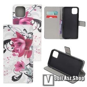 Notesz / mappa tok - LÓTUSZVIRÁG MINTÁS - oldalra nyíló, rejtett mágneses záródás, belső zseb, asztali tartó funkció, szilikon belső - APPLE iPhone 11 kép