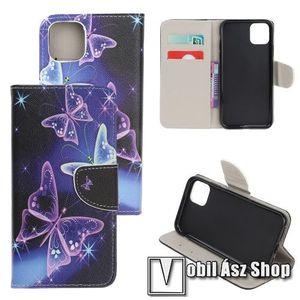 Notesz / mappa tok - PILLANGÓ MINTÁS - oldalra nyíló, rejtett mágneses záródás, belső zseb, asztali tartó funkció, szilikon belső - APPLE iPhone 11 Pro Max kép