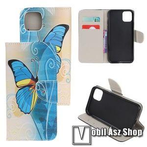 Notesz / mappa tok - KÉK PILLANGÓ MINTÁS - oldalra nyíló, rejtett mágneses záródás, belső zseb, asztali tartó funkció, szilikon belső - APPLE iPhone 11 kép