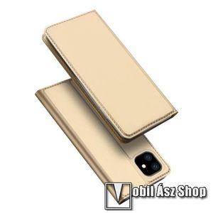DUX DUCIS slim design notesz / mappa tok - ARANY - oldalra nyíló flip cover, asztali tartó funkció, szilikon belső, mágneses záródás - APPLE iPhone 11 - GYÁRI kép