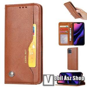 Notesz tok / flip tok - VILÁGOSBARNA - asztali tartó funkciós, oldalra nyíló, rejtett mágneses záródás, bankkártya tartó zsebekkel, szilikon belső - APPLE iPhone 11 Pro kép
