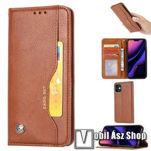 Notesz tok / flip tok - VILÁGOSBARNA - asztali tartó funkciós, oldalra nyíló, rejtett mágneses záródás, bankkártya tartó zsebekkel, szilikon belső - APPLE iPhone 11 kép