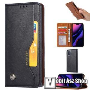 Notesz tok / flip tok - FEKETE - asztali tartó funkciós, oldalra nyíló, rejtett mágneses záródás, bankkártya tartó zsebekkel, szilikon belső - APPLE iPhone 11 Pro Max kép