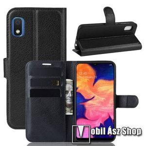 WALLET notesz tok / flip tok - FEKETE - asztali tartó funkciós, oldalra nyíló, rejtett mágneses záródás, bankkártyatartó zseb, szilikon belső - SAMSUNG SM-A102U Galaxy A10e kép