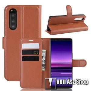 WALLET notesz tok / flip tok - BARNA - asztali tartó funkciós, oldalra nyíló, rejtett mágneses záródás, bankkártyatartó zseb, szilikon belső - SONY Xperia 5 kép