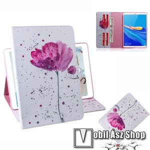 Notesz tok / mappa tok - VIRÁG MINTÁS - asztali tartó funkciós, oldalra nyíló, rejtett mágneses záródás, bankkártyatartó zsebekkel, szilikon belső - HUAWEI MediaPad M6 8.4 kép