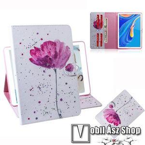 Notesz tok / mappa tok - VIRÁG MINTÁS - asztali tartó funkciós, oldalra nyíló, rejtett mágneses záródás, bankkártyatartó zsebekkel, szilikon belső - HUAWEI MediaPad M6 10.8 kép