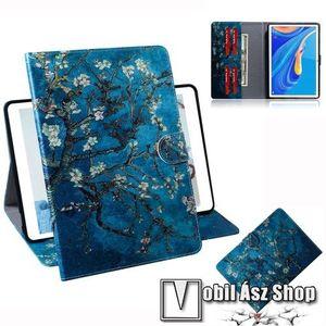 Notesz tok / mappa tok - VIRÁGZÓ FA MINTÁS - asztali tartó funkciós, oldalra nyíló, rejtett mágneses záródás, bankkártyatartó zsebekkel, szilikon belső - HUAWEI MediaPad M6 10.8 kép