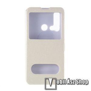 Műanyag védő tok / hátlap - FEHÉR - oldalra nyíló ablakos flip cover, asztali tartó funkció, mágneses záródás, hívásfelvétel - HUAWEI P20 lite (2019) / HUAWEI nova 5i kép