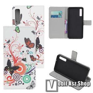 Notesz / mappa tok - PILLANGÓ / VIRÁG MINTÁS - oldalra nyíló, rejtett mágneses záródás, belső zseb, asztali tartó funkció, szilikon belső - SAMSUNG SM-A307F Galaxy A30s / SAMSUNG SM-A505F Galaxy A50 / Galaxy A50s kép