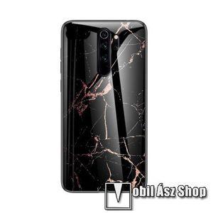 GLASS CASE műanyag védő tok / hátlap védő edzett üveg - FEKETE / ARANY MÁRVÁNY MINTÁS - szilikon szegély - Xiaomi Redmi Note 8 kép