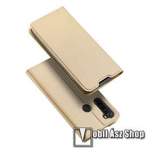 DUX DUCIS slim design notesz / mappa tok - ARANY - oldalra nyíló flip cover, asztali tartó funkció, szilikon belső, mágneses záródás - Xiaomi Redmi Note 8 - GYÁRI kép