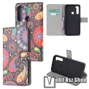 Notesz tok / flip tok - SZÍNES VIRÁG MINTÁS - asztali tartó funkciós, oldalra nyíló, rejtett mágneses záródás, bankkártyatartó zseb, szilikon belső - Xiaomi Redmi Note 8 kép