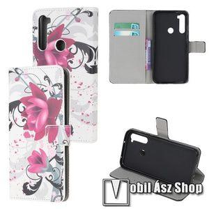 Notesz tok / flip tok - LÓTUSZVIRÁG MINTÁS - asztali tartó funkciós, oldalra nyíló, rejtett mágneses záródás, bankkártyatartó zseb, szilikon belső - Xiaomi Redmi Note 8 kép