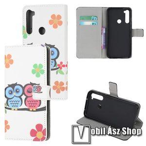 Notesz tok / flip tok - BAGOLYPÁR MINTÁS - asztali tartó funkciós, oldalra nyíló, rejtett mágneses záródás, bankkártyatartó zseb, szilikon belső - Xiaomi Redmi Note 8 kép