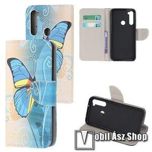 Notesz tok / flip tok - KÉK PILLANGÓ MINTÁS - asztali tartó funkciós, oldalra nyíló, rejtett mágneses záródás, bankkártyatartó zseb, szilikon belső - Xiaomi Redmi Note 8 kép