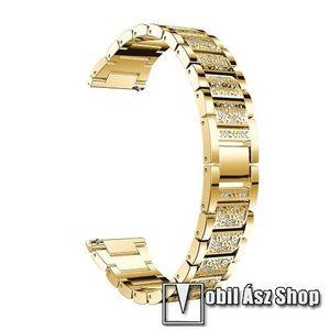 Okosóra szíj - ARANY - rozsdamentes acél, strassz köves minta, 165mm hosszú, 22mm széles - HUAWEI Watch GT / SAMSUNG Gear S2 (SM-R720) / HUAWEI Watch GT 2 46mm kép