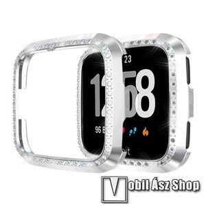 Okosóra műanyag védő tok / keret - EZÜST - Strassz köves minta - Fitbit Versa / Fitbit Versa Lite kép