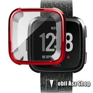Okosóra szilikon védő tok / keret - Szilikon előlapvédő is - Fitbit Versa / Fitbit Versa Lite - PIROS kép