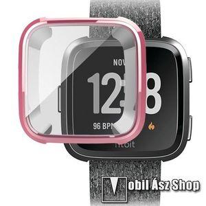 Okosóra szilikon védő tok / keret - Szilikon előlapvédő is - Fitbit Versa / Fitbit Versa Lite - RÓZSASZÍN kép