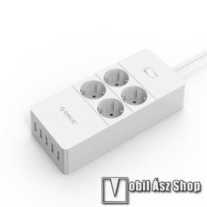 ORICO 4 AC HPC-4A5U-V1-EU hálózati töltőállomás, 4 x 230V-os konnektor, 5 x USB aljzat, max 2500W, USB kimenet 5V/5A - 25W, túlfeszültség védelem, be / ki kapcsoló, tűzálló anyag - FEHÉR - 232mm x 42mm kép
