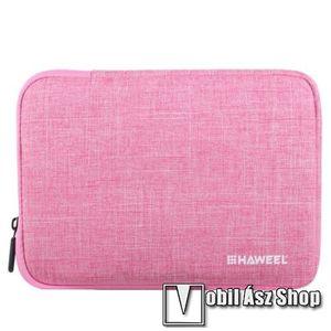 """HAWEEL Tablet / Laptop UNIVERZÁLIS tok / táska - RÓZSASZÍN - Szövet, bársony belső, 2 különálló zsebbel, ütődésálló, vízálló - ERŐS VÉDELEM! - 9, 7""""-os készülékekig használható, 250 x 180 x 20 mm kép"""