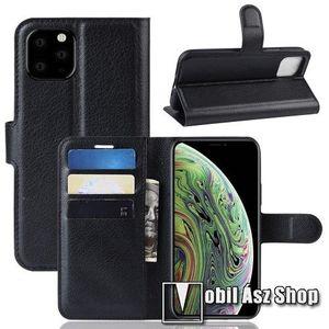 WALLET notesz tok / flip tok - FEKETE - asztali tartó funkciós, oldalra nyíló, rejtett mágneses záródás, bankkártyatartó zseb, szilikon belső - APPLE iPhone 11 Pro kép