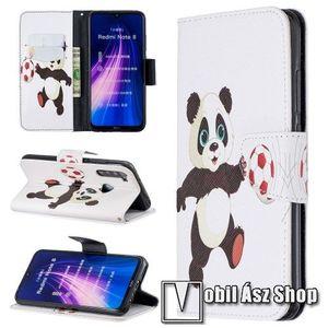 Notesz tok / flip tok - PANDA / FOCILABDA MINTÁS - asztali tartó funkciós, oldalra nyíló, rejtett mágneses záródás, bankkártyatartó zseb, szilikon belső - Xiaomi Redmi Note 8 kép