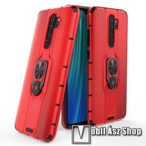 OTT! LEATHER RING műanyag védő tok / hátlap - PIROS - bőrhatású, szilikon betétes, kitámasztható, fém ujjgyűrűvel, tapadófelület mágneses autós tartóhoz - ERŐS VÉDELEM! - Xiaomi Redmi Note 8 Pro kép