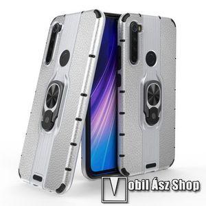 OTT! LEATHER RING műanyag védő tok / hátlap - EZÜST - bőrhatású, szilikon betétes, kitámasztható, fém ujjgyűrűvel, tapadófelület mágneses autós tartóhoz - ERŐS VÉDELEM! - Xiaomi Redmi Note 8 kép