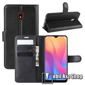 WALLET notesz tok / flip tok - FEKETE - asztali tartó funkciós, oldalra nyíló, rejtett mágneses záródás, bankkártyatartó zseb, szilikon belső - Xiaomi Redmi 8A kép