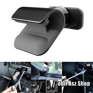 Autós / gépkocsi tartó - csiptetős, műszerfalra ragasztható, 360°-ban forgatható - FEKETE kép
