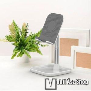 UNIVERZÁLIS alumínium asztali tartó / állvány - függőlegesen 35°-ban dönthető bölcső, kábelvezető kivágás, csúszásgátló - EZÜST kép