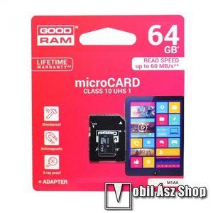 MEMÓRIA KÁRTYA TransFlash 64 GB - microSDHC, Class 10, UHS-i 1, SD adapter - GOODRAM kép