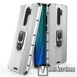 OTT! LEATHER RING műanyag védő tok / hátlap - EZÜST - bőrhatású, szilikon betétes, kitámasztható, fém ujjgyűrűvel, tapadófelület mágneses autós tartóhoz - ERŐS VÉDELEM! - Xiaomi Redmi Note 8 Pro kép