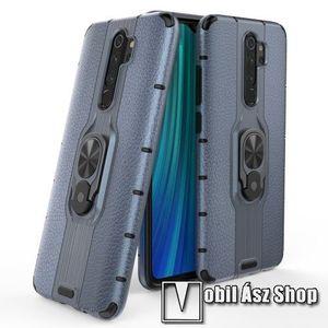 OTT! LEATHER RING műanyag védő tok / hátlap - SÖTÉTKÉK - bőrhatású, szilikon betétes, kitámasztható, fém ujjgyűrűvel, tapadófelület mágneses autós tartóhoz - ERŐS VÉDELEM! - Xiaomi Redmi Note 8 Pro kép