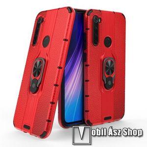 OTT! LEATHER RING műanyag védő tok / hátlap - PIROS - bőrhatású, szilikon betétes, kitámasztható, fém ujjgyűrűvel, tapadófelület mágneses autós tartóhoz - ERŐS VÉDELEM! - Xiaomi Redmi Note 8 kép