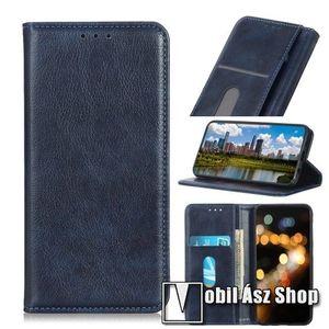 Notesz tok / flip tok - SÖTÉTKÉK - asztali tartó funkciós, oldalra nyíló, rejtett mágneses záródás, bankkártyatartó zseb, szilikon belső - Xiaomi Redmi 8A kép