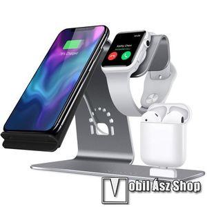 3 az 1-ben Apple Watch, Airpods és iPhone asztali tartó Qi Wireless asztali töltő funkcióval, 10W, gyors töltés - Apple Watch vezetéknélküli töltő NEM TARTOZÉK! - SZÜRKE kép