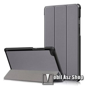 Notesz / mappa tok - SZÜRKE - oldalra nyíló flip cover, TRIFOLD asztali tartó funkciós, erősített sarkok, mágneses záródás, műanyag belső - Lenovo Tab E8 (TB-8304F1) kép