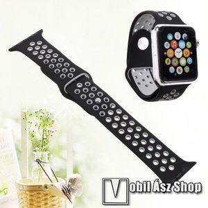 Okosóra szíj - légáteresztő, sportoláshoz, szilikon - FEKETE - 100mm + 90mm hosszú, 21mm széles - APPLE Watch Series 3/2/1 42mm / APPLE Watch Series 4 44mm / APPLE Watch Series 5 44mm kép