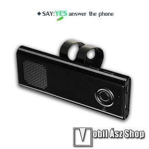BLUETOOTH kihangosító szett szivargyújtós töltővel - napellenzőre rögzíthető, hordozható, Bluetooth V4.1+EDR, beépített mikrofon, 650mAh akkumulátor, egyszerre 2 különböző telefonnal használható! - FEKETE - 130 x 50 x 15mm kép