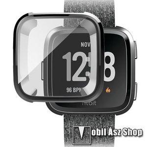 Okosóra szilikon védő tok / keret - Szilikon előlapvédő is - Fitbit Versa / Fitbit Versa Lite - FEKETE kép