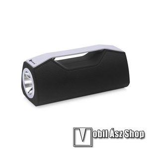 Hordozható Bluetooth hangszóró, elem lámpa - Bluetooth V5.0, beépített mikrofon, 3, 5mm AUX, USB port, FM rádió, TF kártyafoglalat, beépített 1200mAh akkumulátor - FEKETE kép