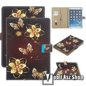 """UNIVERZÁLIS notesz / mappa tablet PC tok - PILLANGÓ / VIRÁG MINTÁS - álló, bőr, mágneses, asztali tartó funkciós, 7""""-os készülékekhez kép"""